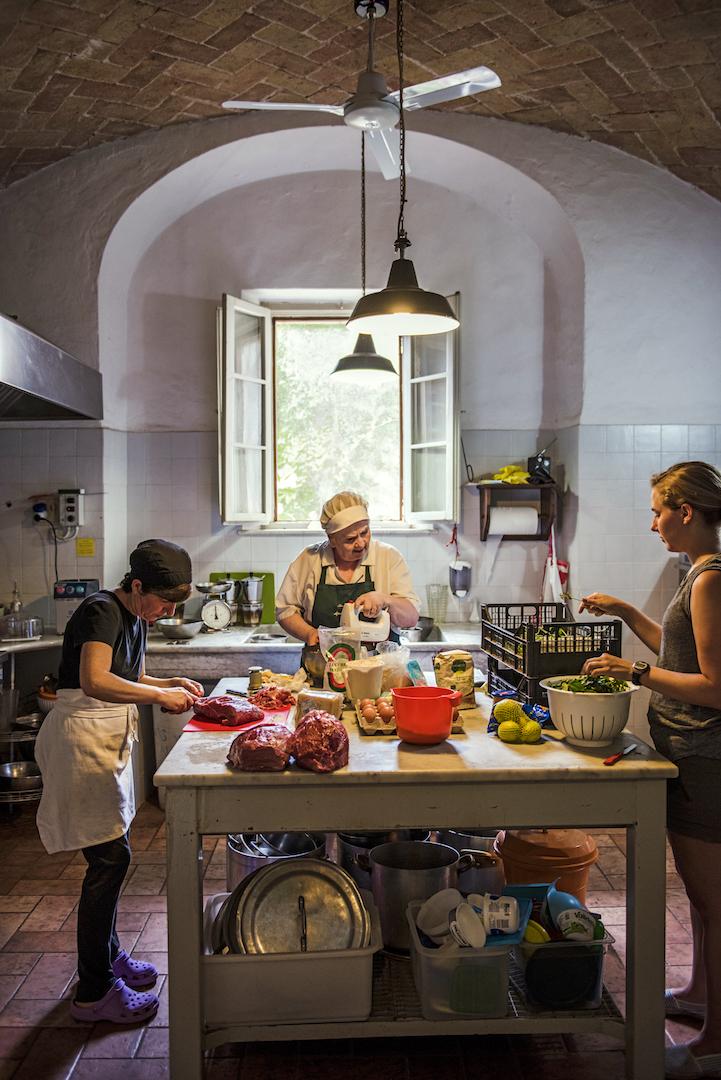 Cooking in the Kitchen, Tenuta di Spannocchia, Siena, Tuscany, Italy.